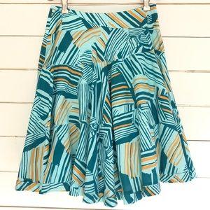 Anthro odille teal abstract stripe full skirt sz 2